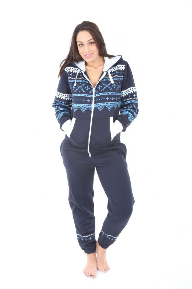 ... another chance a30fd 52fa3 A NAVY AZTEC adult onesie suitable for both  women and Men NAVY  detailing be588 7d939 Womens Hoodie-FootiesTM 811bff00b9