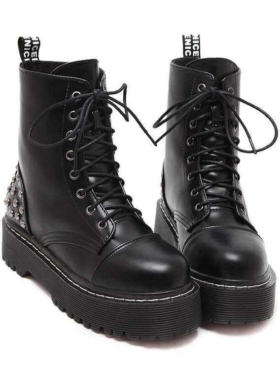 Shop Black Rivet Thick-soled Lace Up Short Boots online. SheIn offers Black Rivet Thick-soled Lace Up Short Boots & more to fit your fashionable needs.