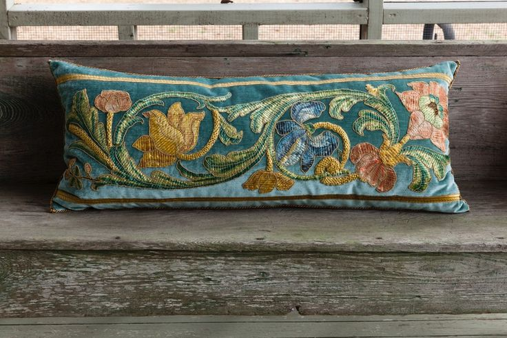 Rebecca Vizard tracked this textile for years in Paris until it finally showed up at a different dealers booth at a lower price. 17th century Italian embroidery pillow. | B. Viz Design | bviz.com