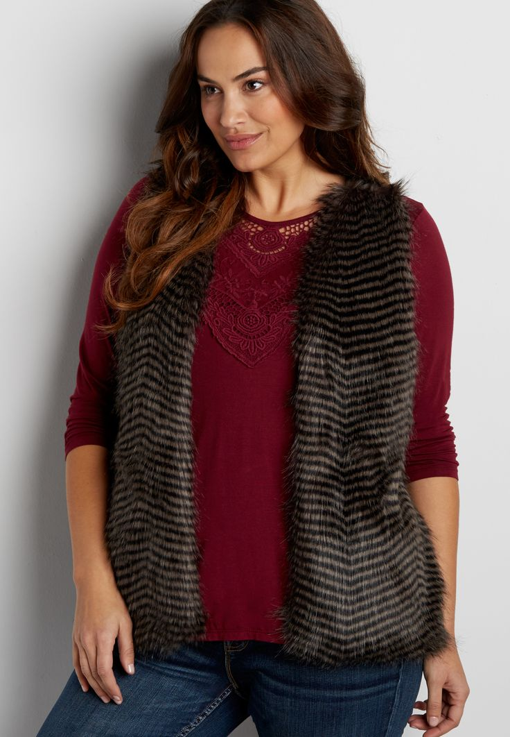 plus size striped faux fur vest with knit back (original price, $69.00) available at #Maurices
