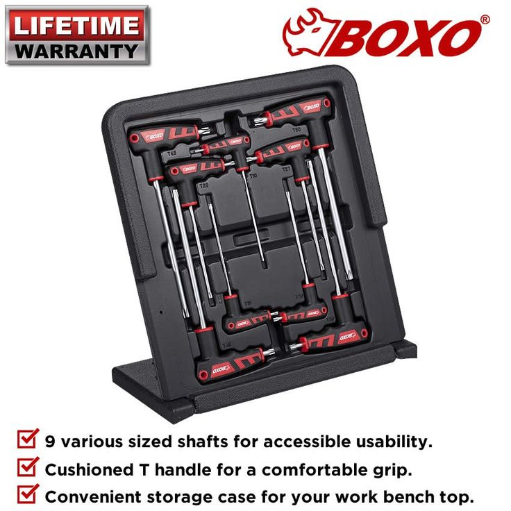 Boxo BOXBX6800TR009BM 9PCE T-Handle Torx Key Wrench Set