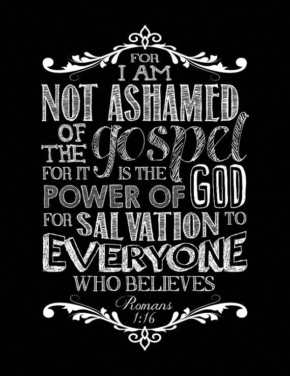 Scripture Chalkboard Art Print Romans 1:16 by DESIGNEDforCHRIST