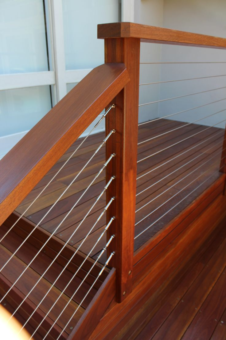 Hardwood balustrade with stainless steel tension wires