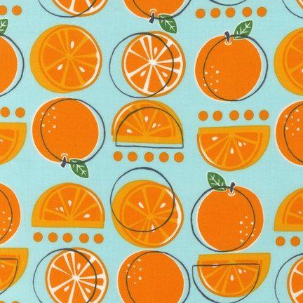 Oranges on Aqua from Metro Market  Fat Quarter by sewfreshfabrics, $2.75