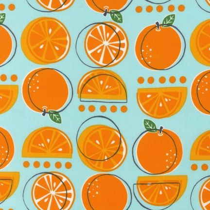 Metro Market Oranges AMN-11264-70 AQUA by Monaluna for Robert Kaufman Fabrics 1/2 yard. $4.50, via Etsy.