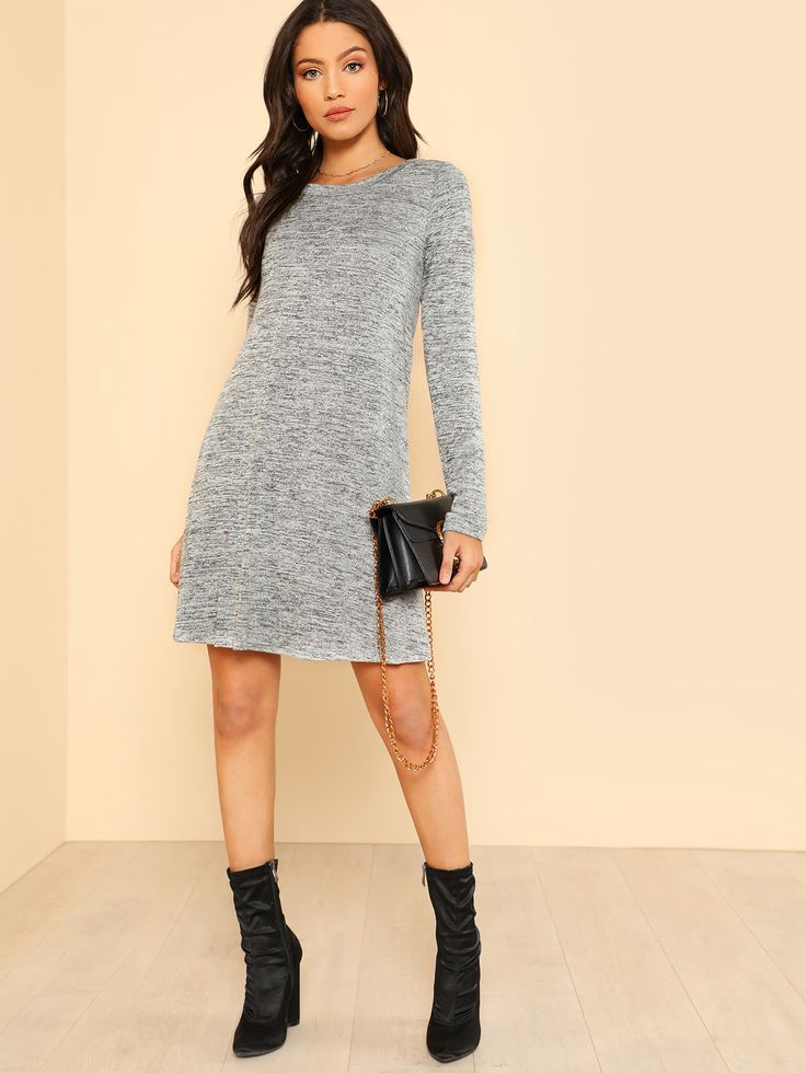 Shop Long Sleeve Flowy Dress GREY online. SheIn offers Long Sleeve Flowy Dress GREY & more to fit your fashionable needs.