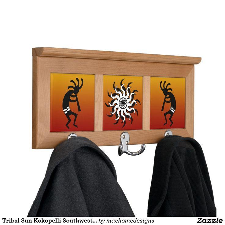 Tribal Sun Kokopelli Southwest Design Orange Coat Rack