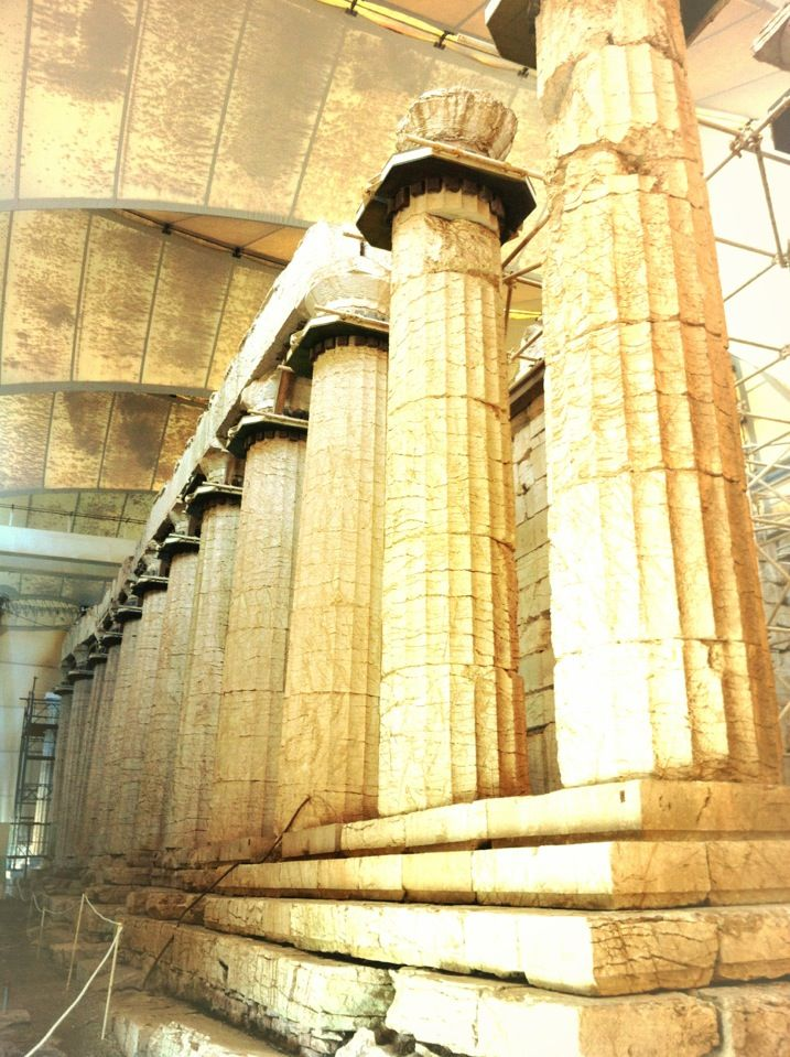 This famous temple to the god of healing and the sun was built towards the middle of the 5th century B.C. in the lonely heights of the Arcadian mountains. The temple, which has the oldest Corinthian capital yet found, combines the Archaic style and the serenity of the Doric style with some daring architectural features.