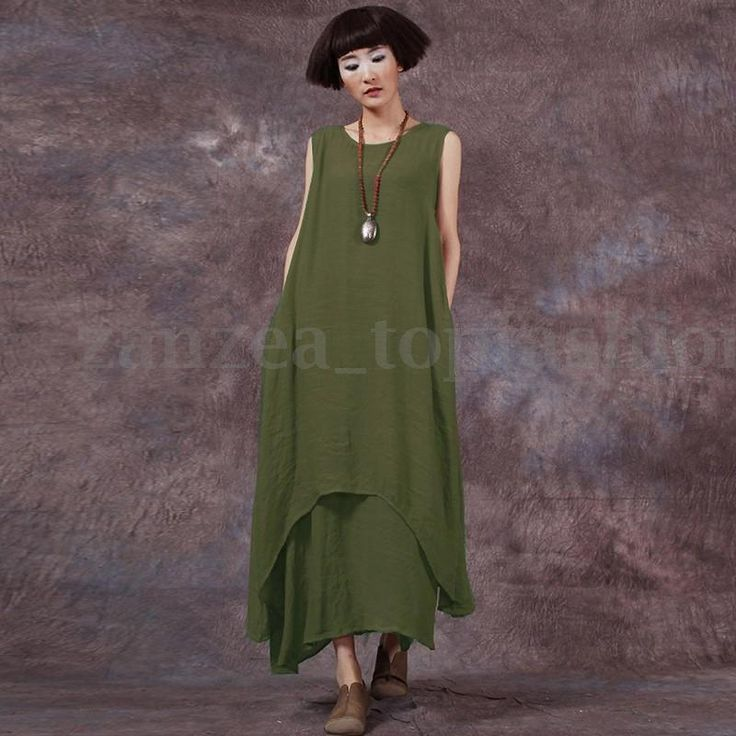 ZANZEA-Women-Sleeveless-Kaftan-Loose-Casual-Retro-Linen-Long-Tops-Maxi-Dress