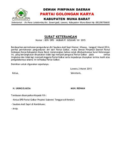 Contoh Surat Pengunduran Diri Dari Anggota Partai Contoh Surat