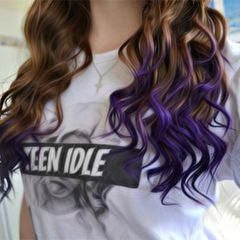 dip dyed brunette hair with deep purple ends... Fun for summer maybe? Maybe just chalk it..
