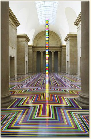 """Hmmm, not sure about this concept (Jim Lambie's Floor Installations) for my home, but in the right setting it is an amazing idea. Perhaps a good project for the kids? Give them a ton of different colored rolls of duct tape and the basement floor and tell them, """"Have at it""""!"""