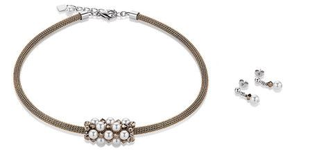 Swarovski Crystal Pearl and rose gold coloured Choker and earrings. 4824_1600
