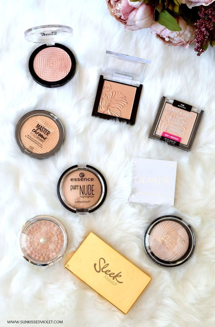 Best Drugstore Highlighters For An Instant Glow Swatches Review Sun Kissed Violet Best Drug Store Highlighter Drugstore Highlighter Best Highlighter