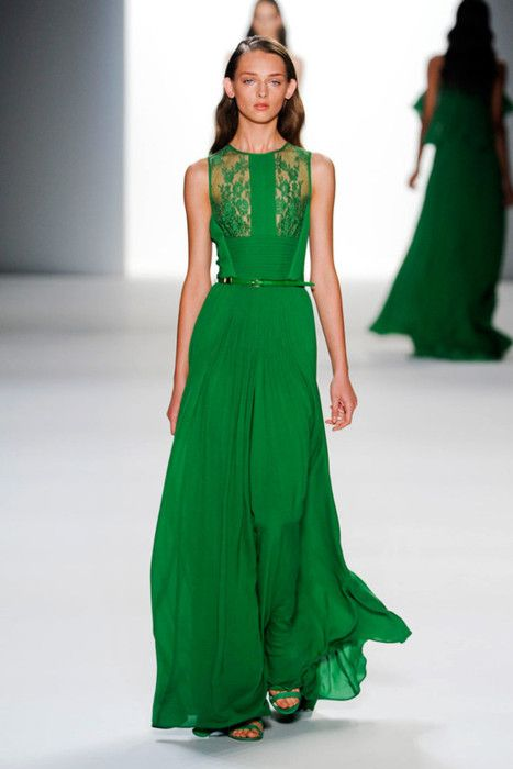 Beautiful vaporous green dress.