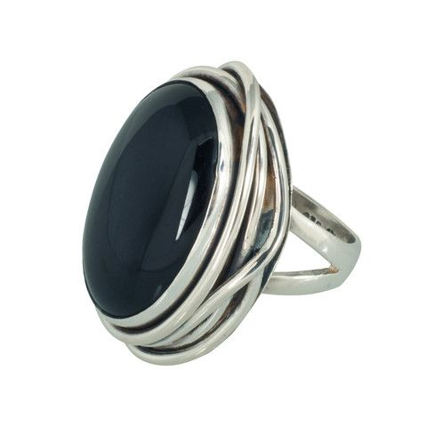 Changing Tides (CT007) Glamourous 925 sterling silver wide band ring styled with riveting oval black onyx stone.