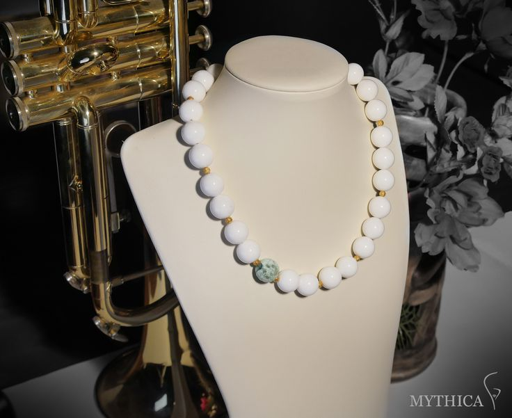 By mythica handmade creations a semiprecious stone necklace made from white onyx and agate and sterling silver!                                 Price : 50 Euros                                             Concept and photograpgy by Karagiannis Ioannis                                                   Facebook: Mythica handmade creations      Official sitte : www.myhtica.gr (coming soon)