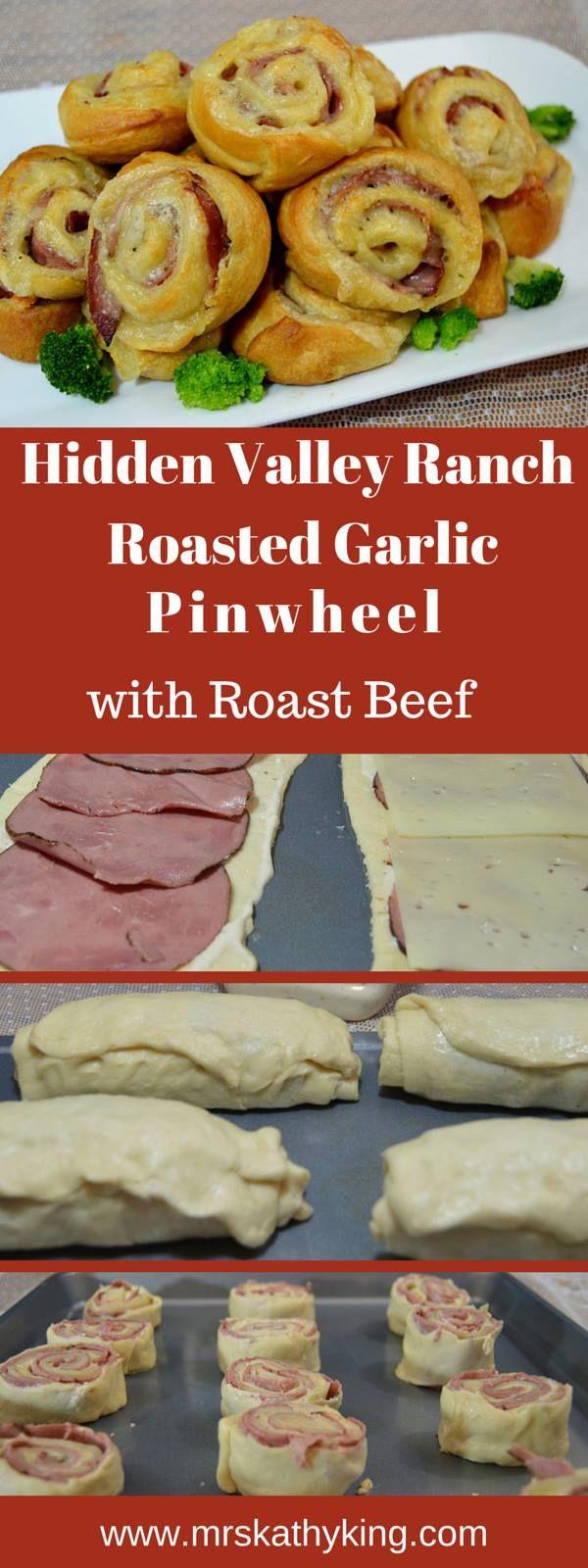 Roast Beef Pinwheels recipe using @HiddenValley Ranch Roasted Garlic #FavRanchFlav (spon)