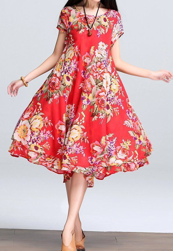 Women loose fitting over plus size ethnic flower dress embroidery tunic fashion #Unbranded #dress #Casual