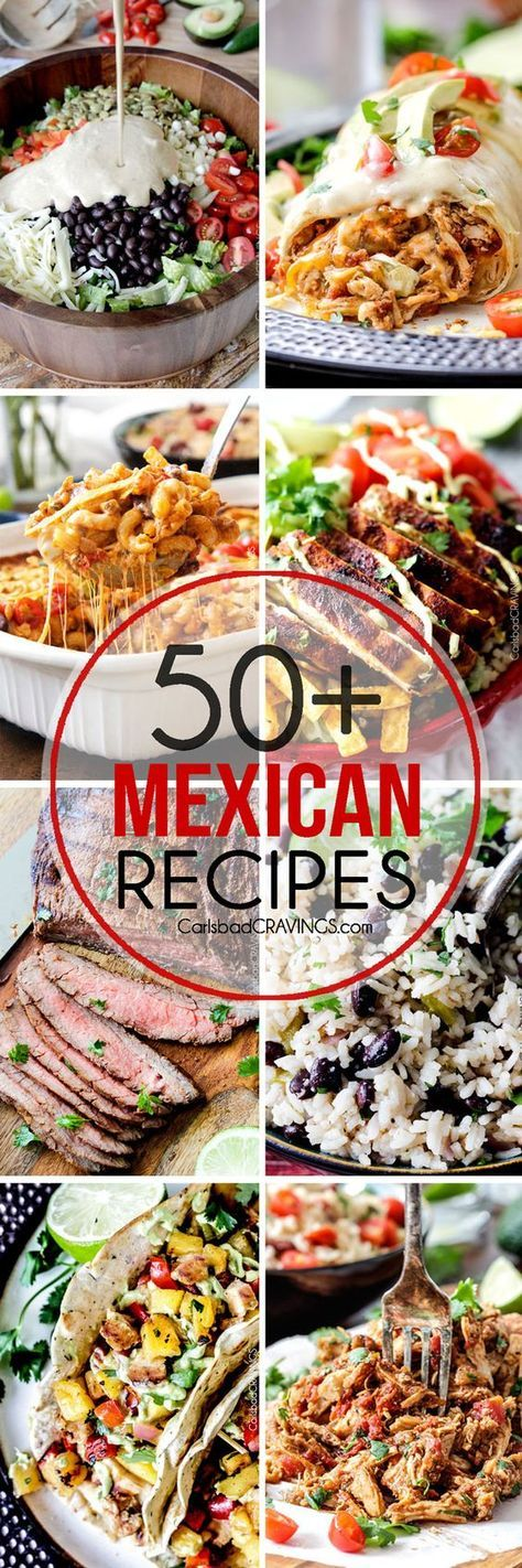 Over 50 of the BEST Mexican recipes for Cinco de Mayo and all year long! from appetizers and sides to slow cooker and soups to tacos, enchiladas and more delicious main dishes!