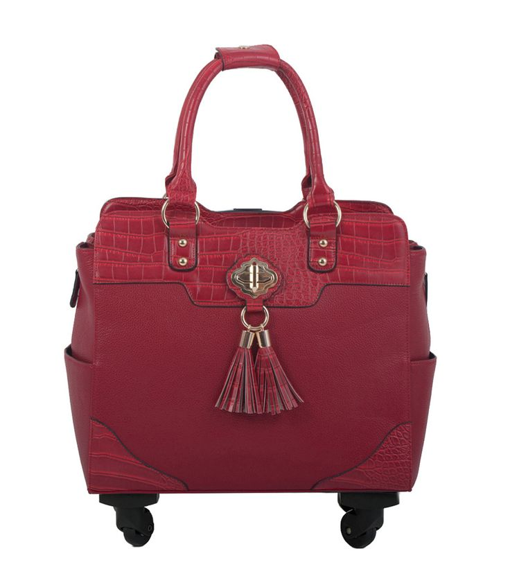 "Arriving Early October -- ""THE PHOENIX"" Red Rolling iPad, Tablet or Laptop Tote Spinner Wheel Carryall Bag"