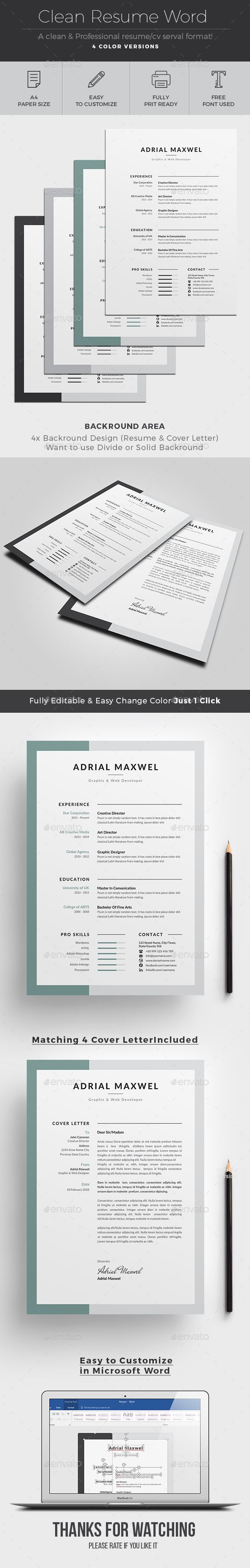 2 pages resume cv pack lambert by snipescientist in templates ...