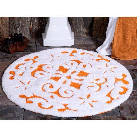 Saffron Fabs Bath Rug Cotton 36 Inch Round 200 Gsf Damask Pattern