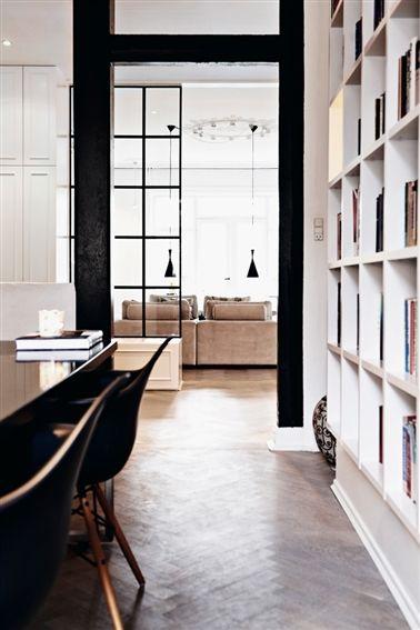 chevron floor and bookshelves