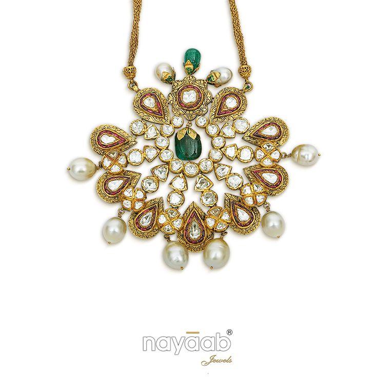 Pearly Pendant with a tinge of Graceful Green ~ #nayaab #exclusive #unique #rare #eternal #pendant #jewellery #gold #diamond #emerald #polkimeena #kundan #jaipur #mumbai