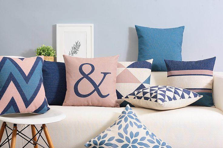 Pas cher Nordic style minimaliste coussins décoratifs moderne bleu coussin géométrique abstraite angleterre style chaise coussin gros, Acheter  Coussin de qualité directement des fournisseurs de Chine:              [Tissu produits]           Coton lin mélangé                   -------------------------------------------