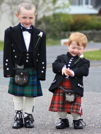 Scottish kilts - dressed up for a family wedding - Poor wee lads haven't quite grown into the outfits, but are so ADORABLE !! Could just eat them up..