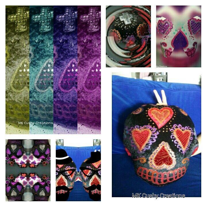 Sugarskull Cushions #SugarSkull #Skull #dayofthedead #colour #colourful #skullcushion #decoratedskull #sugarskullart #skullart