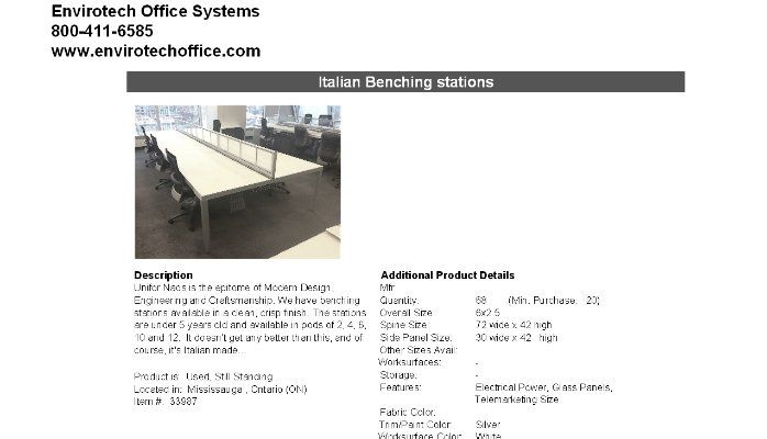 Available Now High End Unifor Benching Stations!
