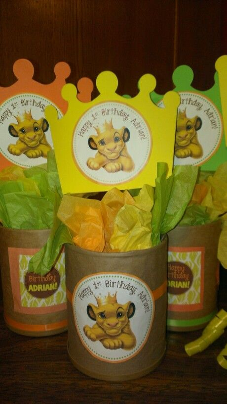 DIY Party Centerpieces made with #formulacans #lionkingbirthday #simba…