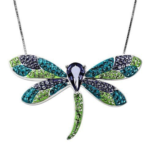 """Carnevale Sterling Silver Dragonfly with Swarovski Elements Pendant Necklace, 18"""" Amazon Curated Collection. Save 72 Off!. $69.00. Made in Thailand"""