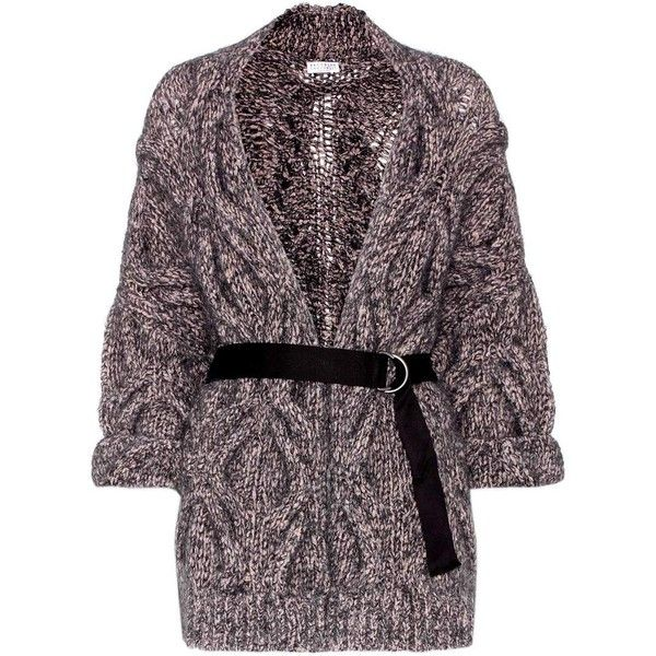 Brunello Cucinelli Wool and Mohair-Blend Belted Cardigan (38 945 UAH) ❤ liked on Polyvore featuring tops, cardigans, grey, knitwear, grey top, gray cardigan, cardigan top, grey wool cardigan and brunello cucinelli top