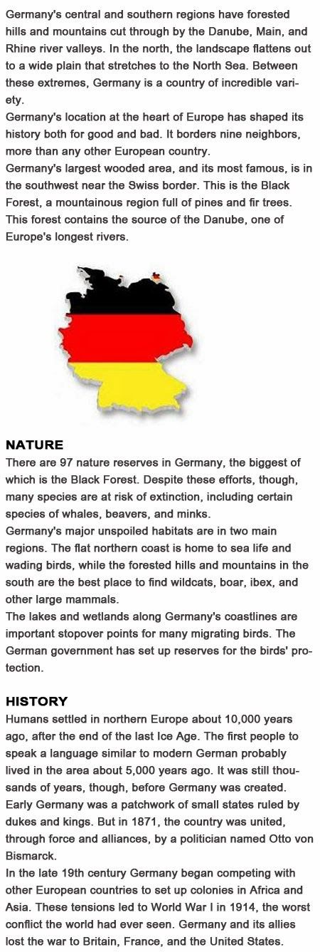 Facts about Germany for kids make a fact book/coloring pictures