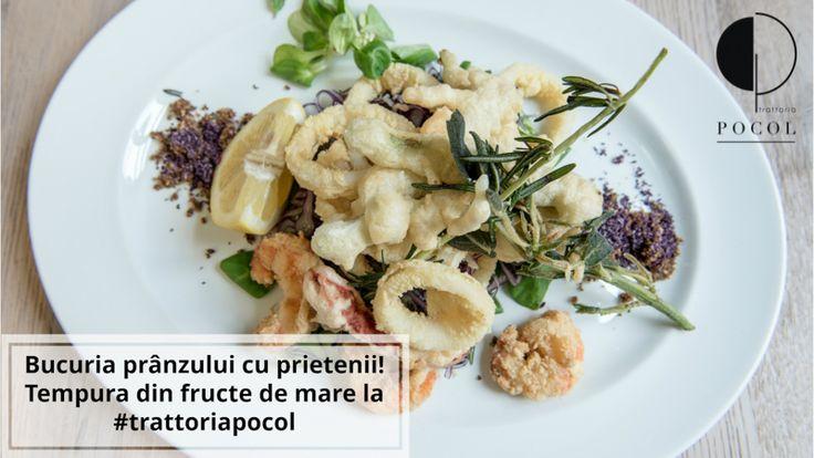 Tempura din fructe de mare. Trattoria Pocol. Brasov. Seafood tempura. Speciality. Top quality. Italian. Food.