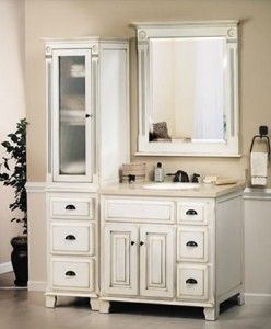 Complete Sagehill Vanities Victorian Collection Including 36 Inch Vanity Mirror Linen Hutch