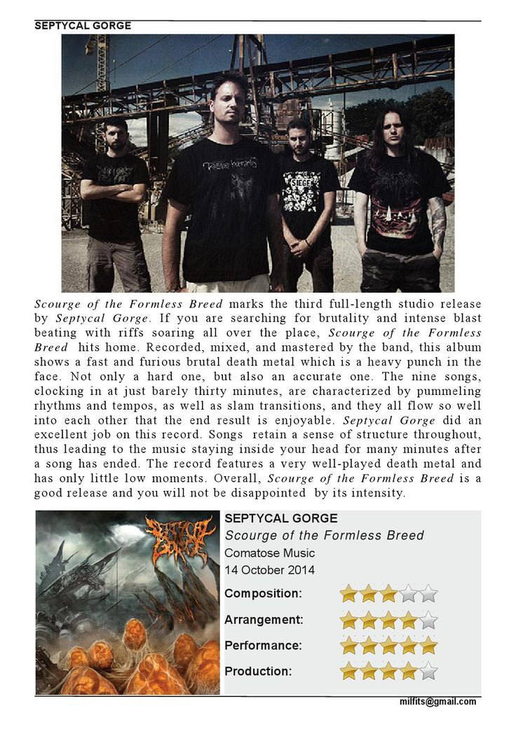 """Septycal Gorge  """"Scourge of the Formless Breed"""" Review (Milfits 'zine, issue#3)"""