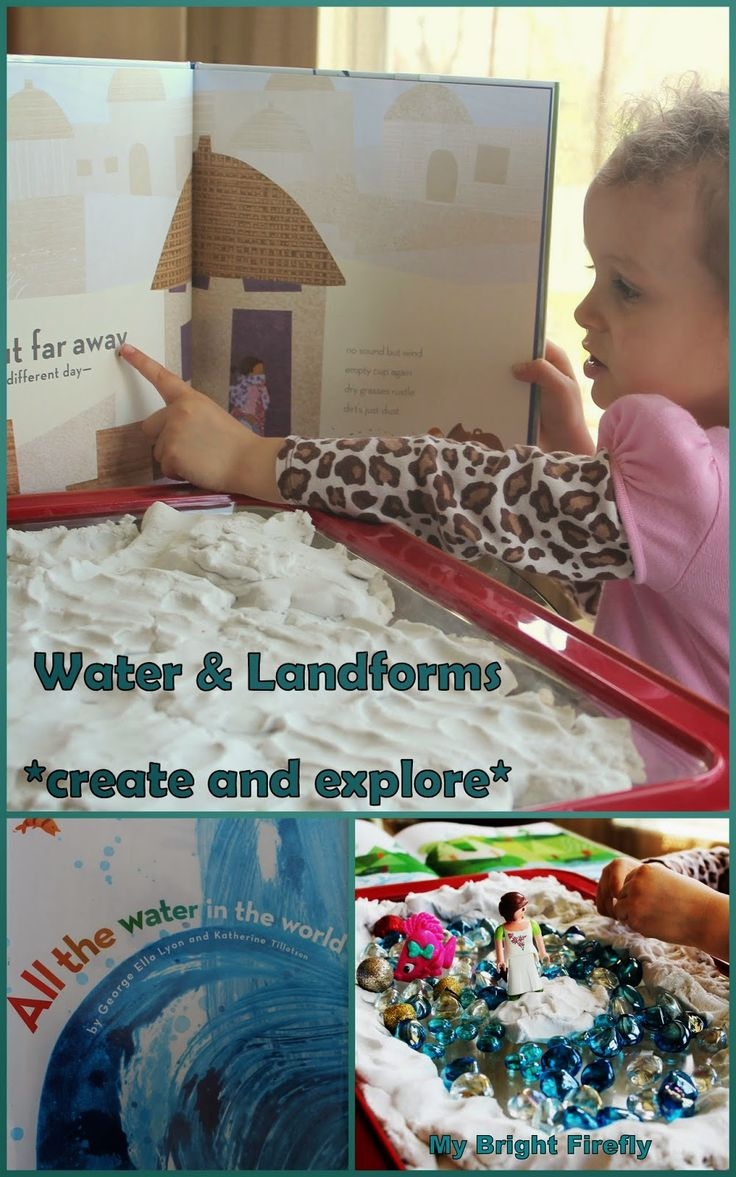 Water and Landforms for Kids: kinetic sand and glass gems. Letter W Is for Water and Wind. Water Theme Preschool Activities.
