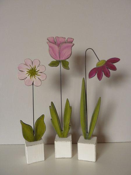 kleine Sockelblumen , 3Stck. von Woodlouse auf DaWanda.com