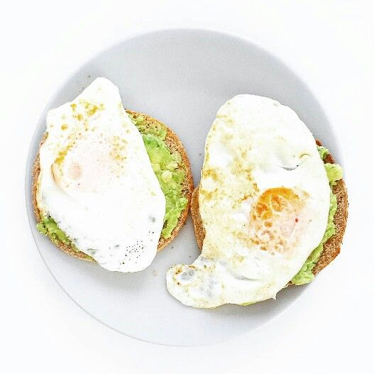 Eggs on toast Avocado Fried egg Healthy breakfast