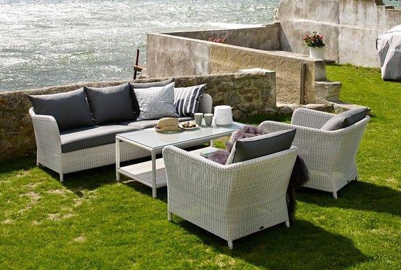 Brafab Loria 3-sits soffa Vit konstrotting med grå dyna 9200 kr