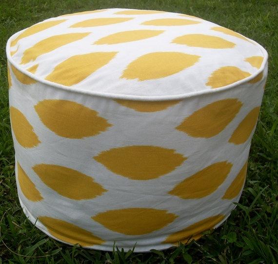 yellow ikat ottoman pouf