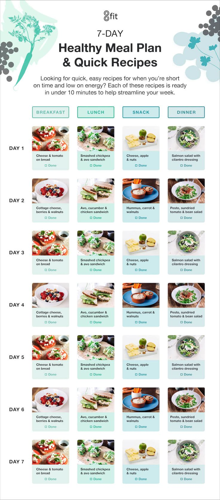7-Day Healthy Meal Planner With Grocery List And Recipes