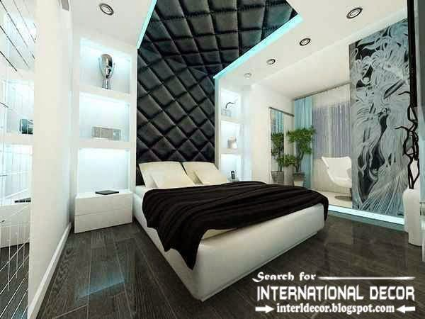 Designer Bedroom Ideas contemporary ceiling design with led lights modern bedroom ideas in black and white Modern Pop False Ceiling Designs For Bedroom 2015 Leather Ceiling Drywall