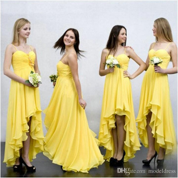 New High Low Yellow Bridesmaid Dresses 2016 Spaghetti Pleats Hi-Lo Chiffon Beach…