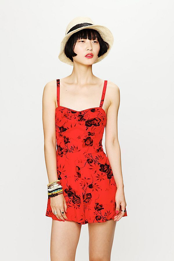 0463c28f9dc Free People Candy Pin-Up Romper Red Black Floral Size 4 Strapped 1004   FreePeople  Romper