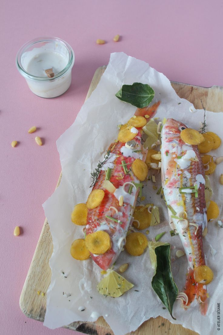 Papillotes de rougets à la citronnelle & lait de coco